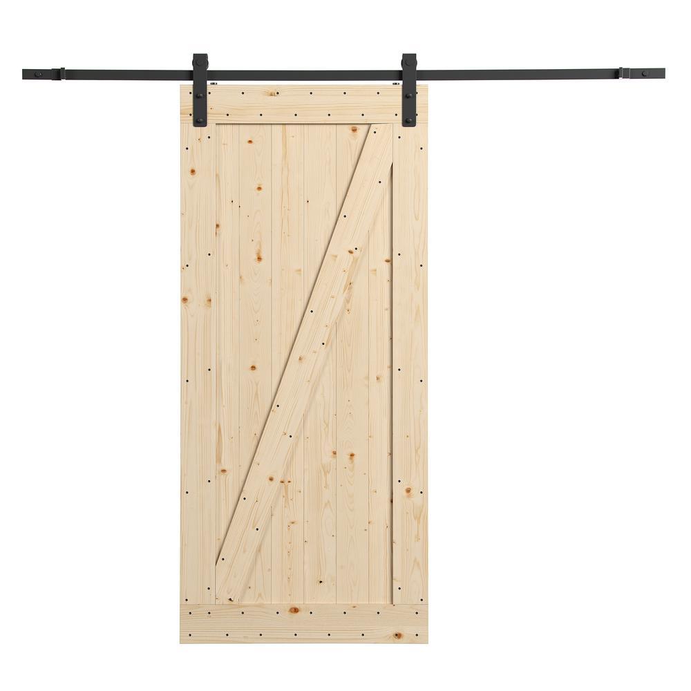 36 in. x 84 in. Canadian Hemlock Unfinished Barn Door with Sliding Door Hardware Kit