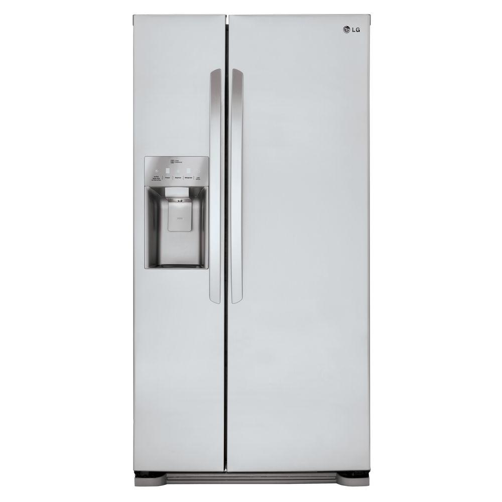 lg electronics 33 in w 22 cu ft side by side refrigerator in stainless steel lsxs22423s the. Black Bedroom Furniture Sets. Home Design Ideas