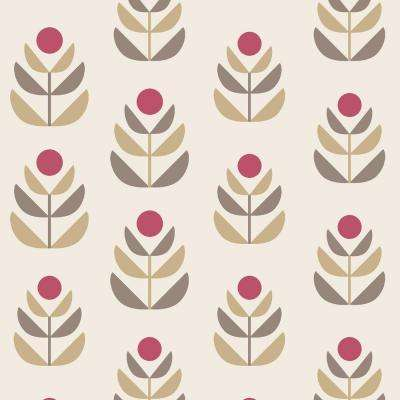 Oslo Red Geometric Tulip Wallpaper Sample