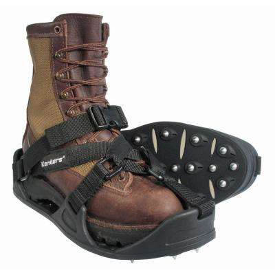 WorkTrax Overshoe Cleat Size Large Black Molded Rubber with 28 Push-Through Steel Spikes/Pair