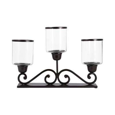 Cordero 15 in. x 24 in. Rustic Iron and Clear Glass Centerpiece Candle Holder