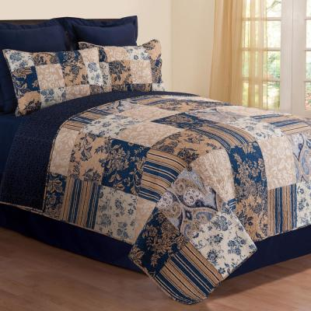 Blue Mazarine Twin Quilt Set