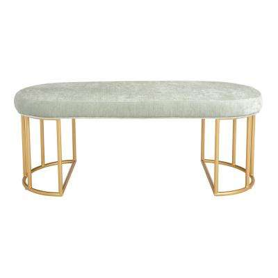 Kinsley Mint Velvet Bench with Gold Frame