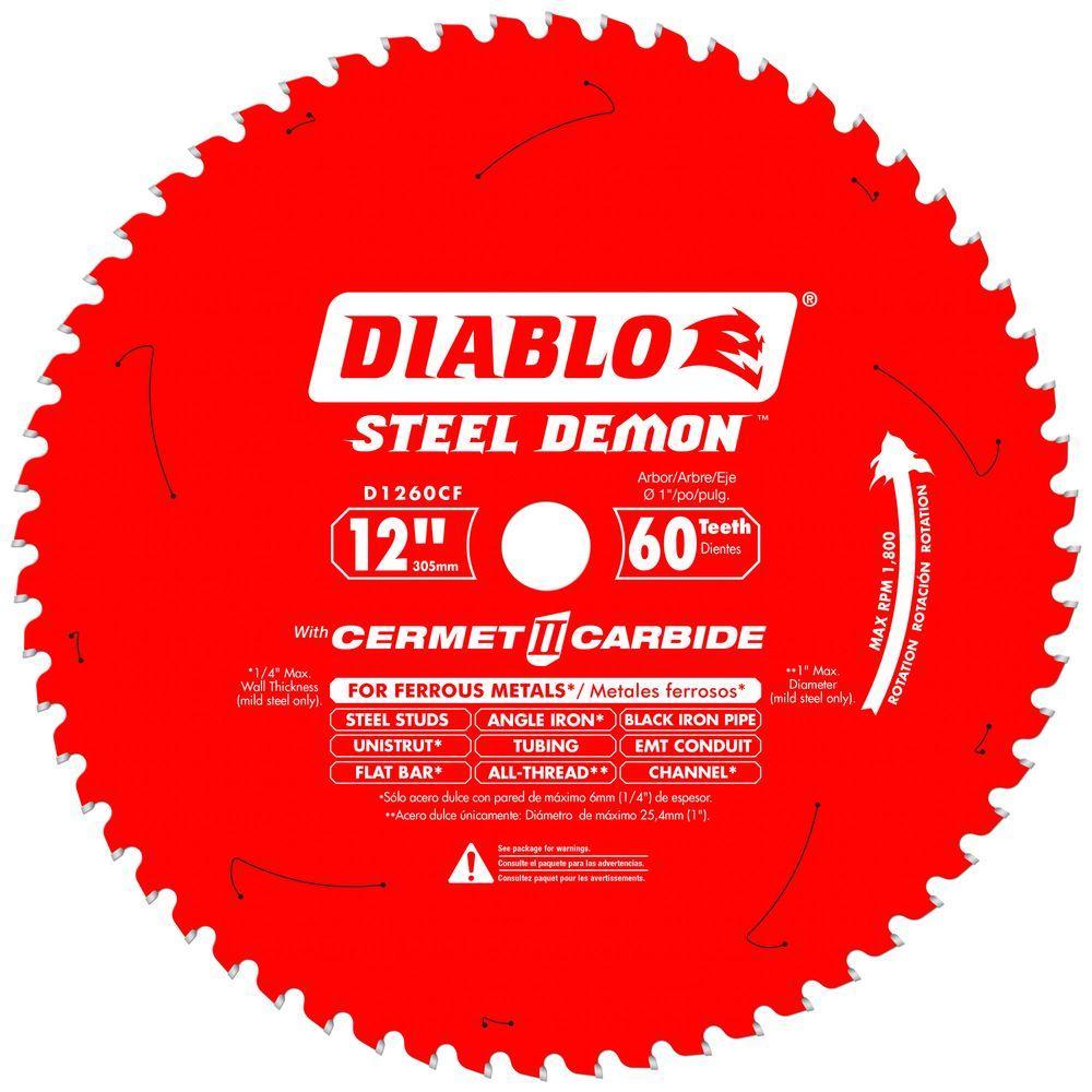 Diablo 12 in  x 60-Tooth Steel Demon Cermet II Carbide Blade for Ferrous  Metals & Stainless Steel
