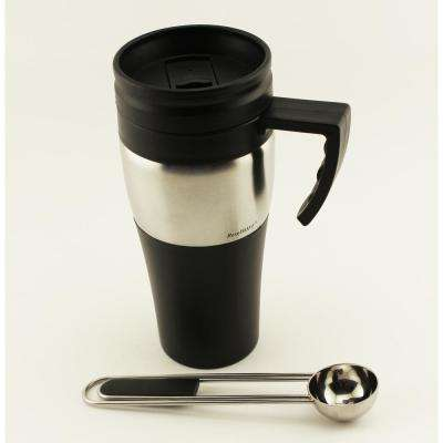 Geminis 16 oz. Silver Stainless Steel Travel Mug with Clipping Scoop