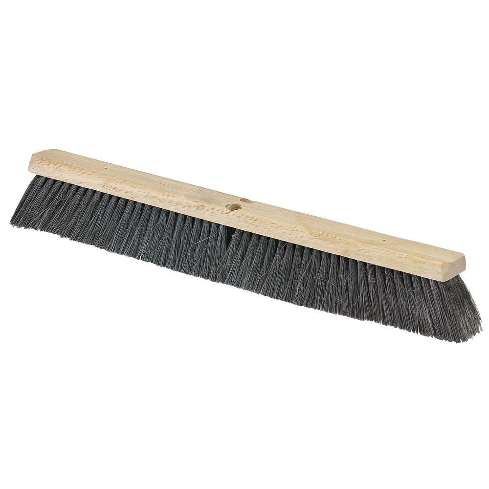 24 in. Horsehair with Polypropylene Medium Push Broom (Head Only) (12-Pack)