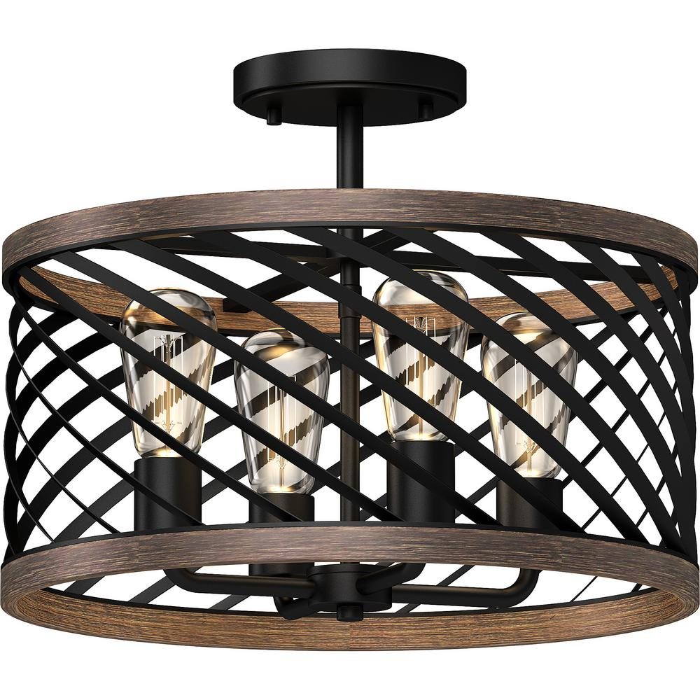 Volume Lighting 16 25 In W X 13 In H 4 Light Indoor Black Walnut Semi Flush Mount Ceiling