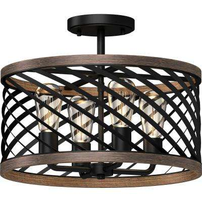 16.25 in. W x 13 in. H 4-Light Indoor Black Walnut Semi-Flush Mount Ceiling Light Fixture with Caged/Crisscrossed Drum