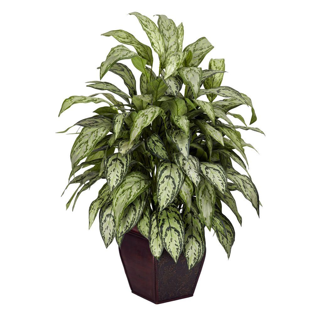 null 38 in. H Green Silver Queen with Decorative Planter Silk Plant
