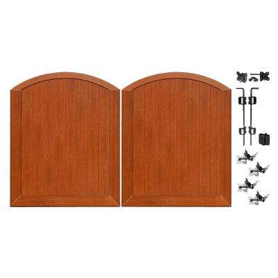 Pro Series 5 ft. W x 6 ft. H Rosewood Vinyl Anaheim Privacy Double Drive Through Arched Fence Gate