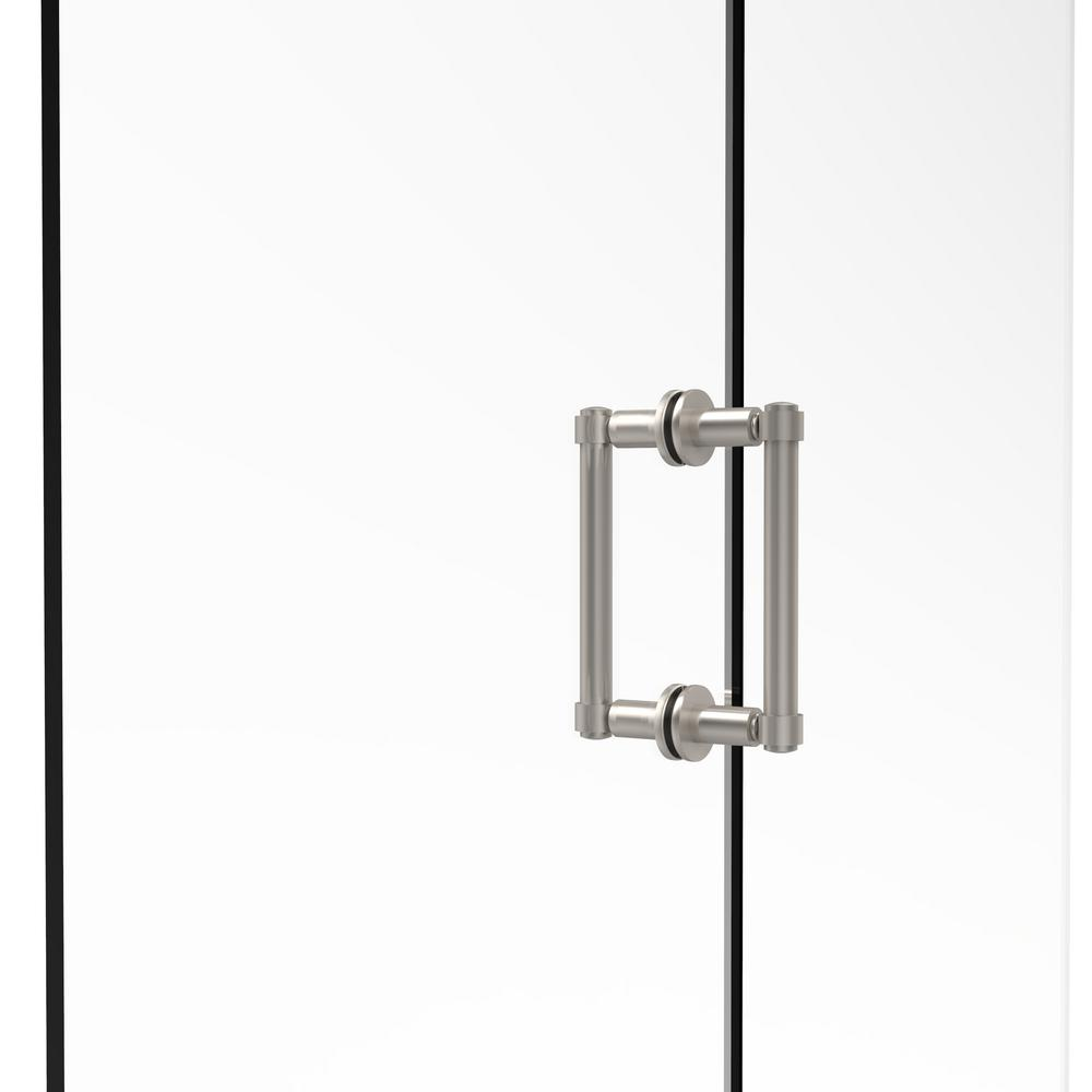 Contemporary 6 in. Back-to-Back Shower Door Pull in Satin Nickel