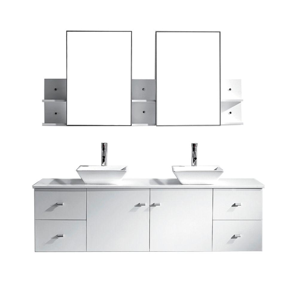 Virtu USA Clarissa 72 in. W Bath Vanity in White with Stone Vanity Top in White with Square Basin and Mirror and Faucet