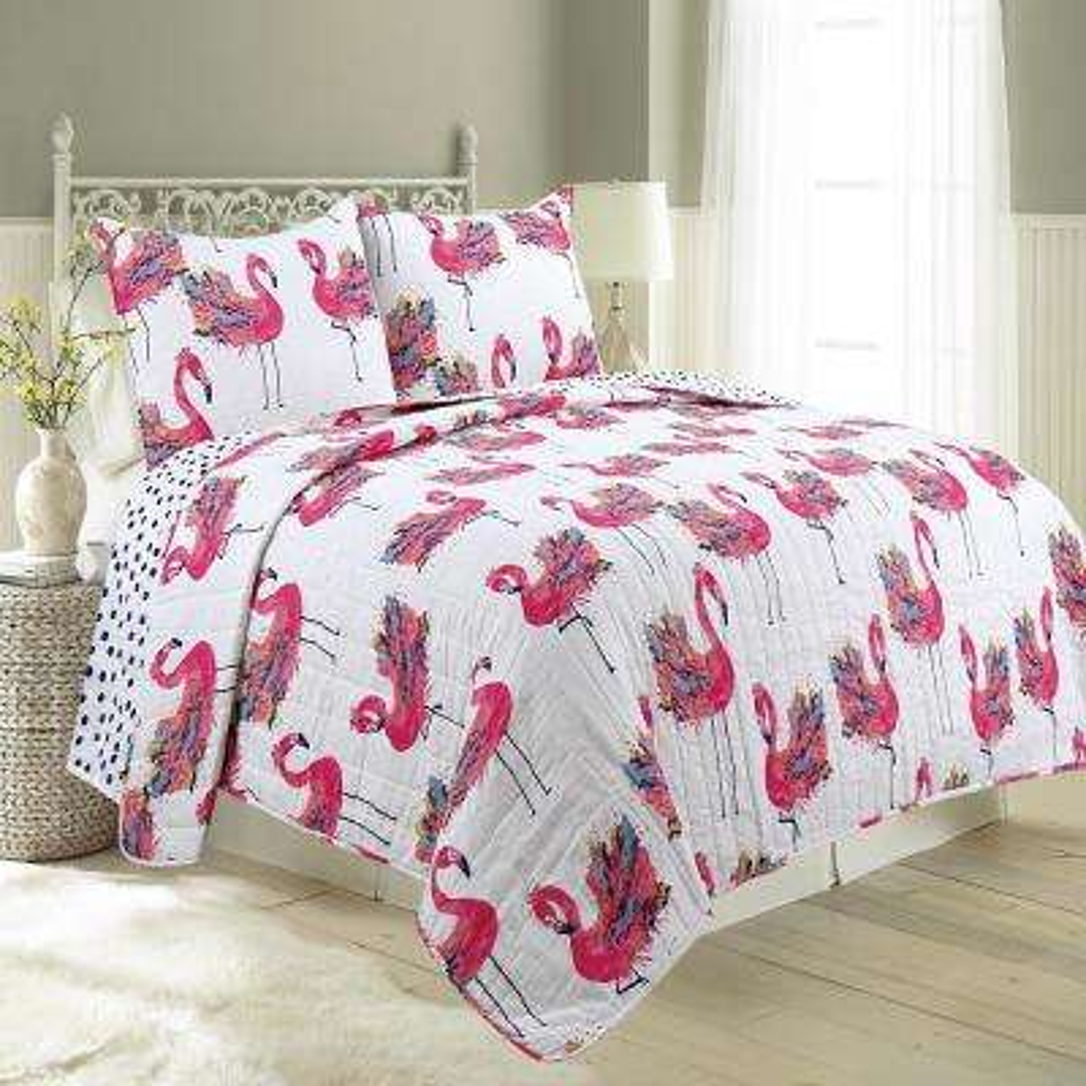 Flamingo Twin Quilt Set