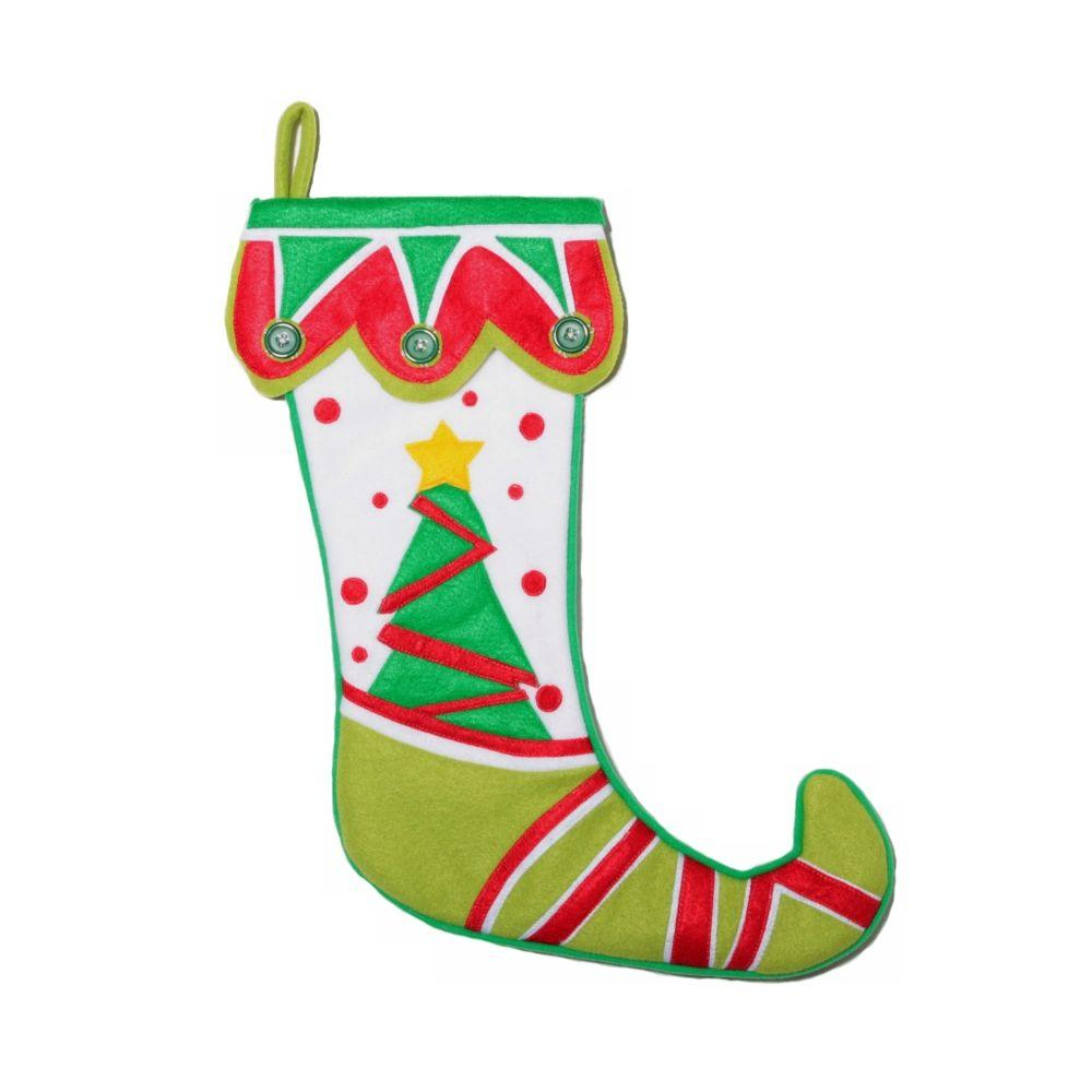 Home Accents Holiday 19 in. Fleece White, Green and Red Jester Stocking