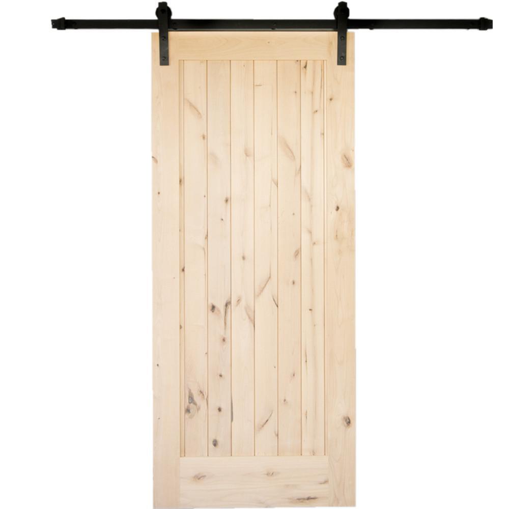 36 in. x 84 in. Krosswood Rustic 1 Panel Unfinished Knotty Alder Interior Barn Door Slab