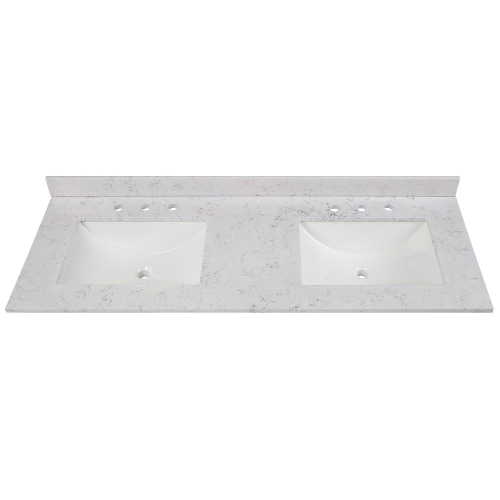 Home Decorators Collection 61 in. W x 22 in. D Stone Effects Double Sink Vanity Top in Pulsar with White Sinks