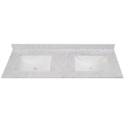 61 in. W x 22 in. D Stone Effects Double Sink Vanity Top in Pulsar with White Sinks