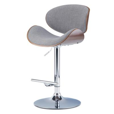 Marana 45.3 in. Grey Linen Look Fabric Bentwood Adjustable Height Gas Lift Bar Stool