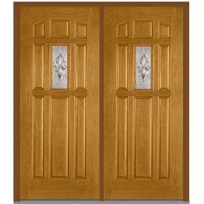 72 in. x 80 in. Heirloom Master Right-Hand Inswing 1-Lite Decorative 8-Panel Stained Fiberglass Oak Prehung Front Door