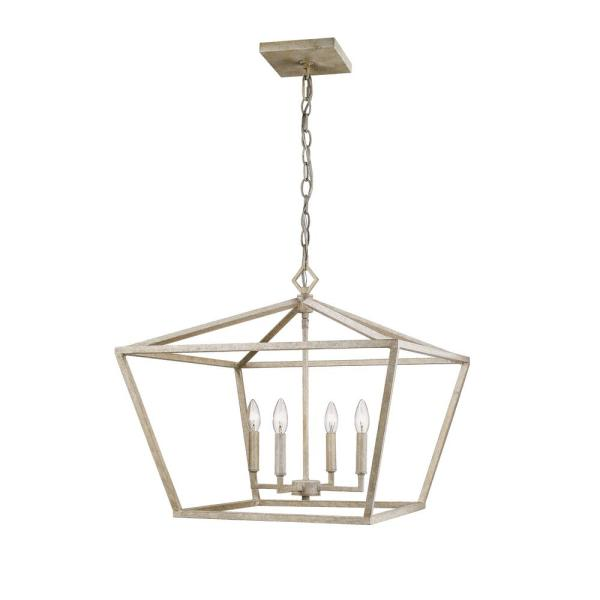 23 in. 4-Light Vintage White Taper Candle Outdoor Pendant