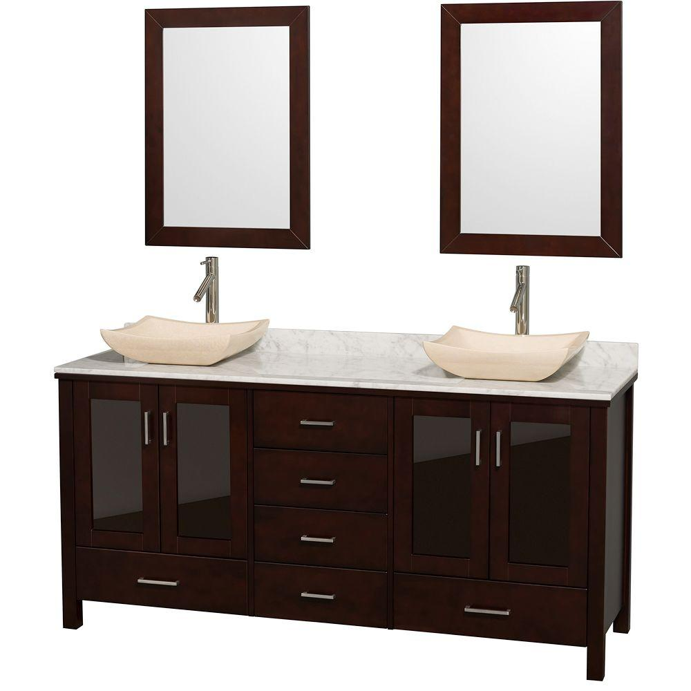 Lucy 72 in. Vanity in Espresso with Marble Vanity Top in
