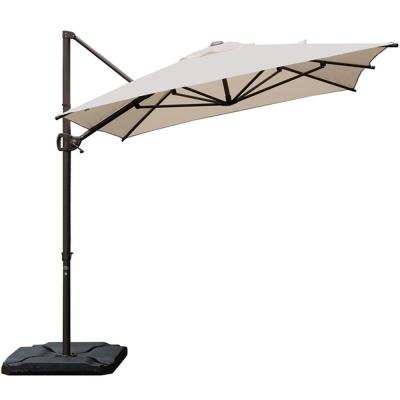 9 ft. x 7 ft. Offset Cantilever Solar Adjustable Vertical Tilt Patio Umbrella in Sand