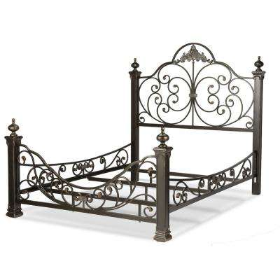 Baroque Gilden Slate King Complete Bed with Massive Cast Metal Grills and Decorated Sloping Side Rails