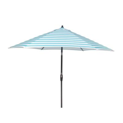 9 ft. Aluminum Market Patio Umbrella in Awning Stripe Seaglass