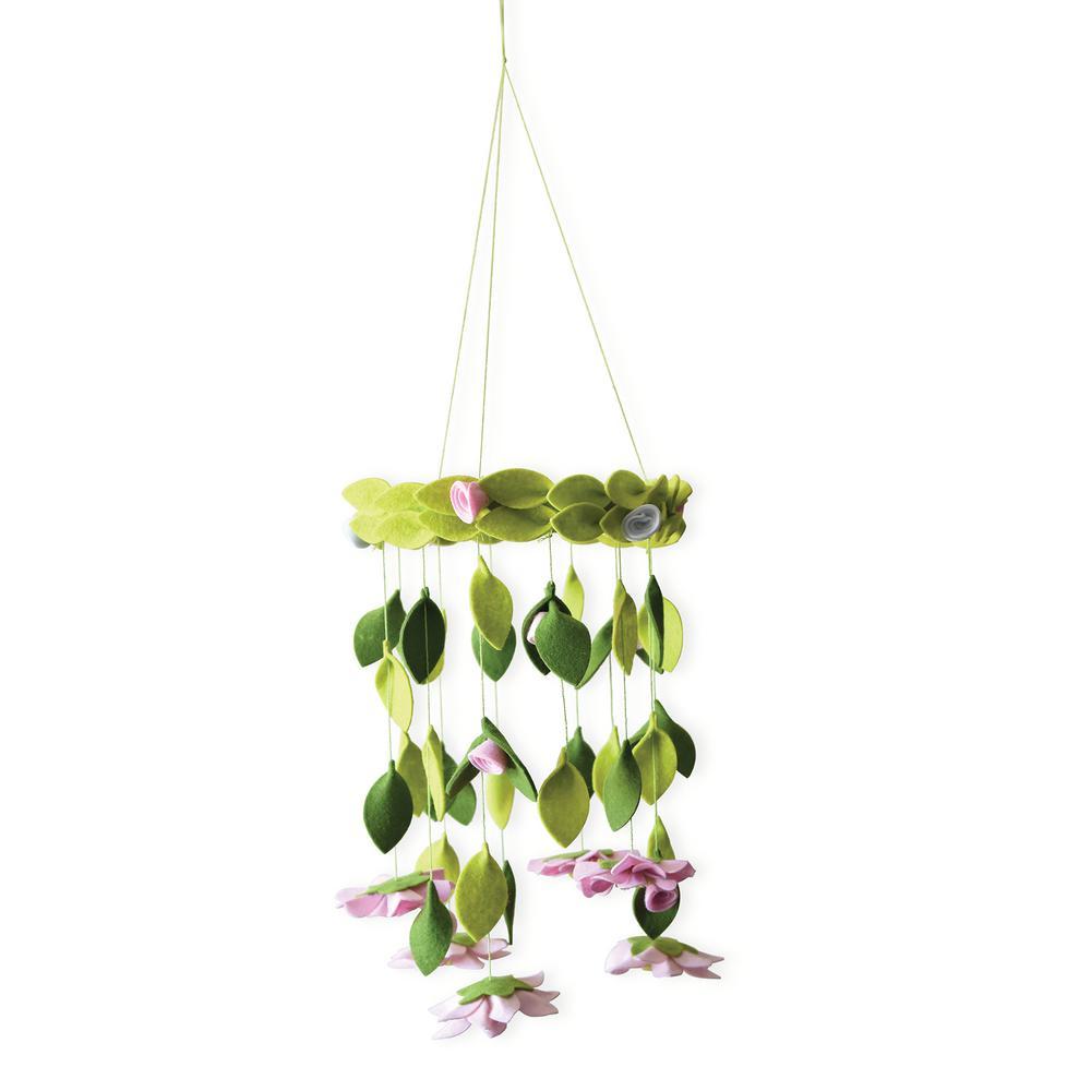 Cascading Green Petals Chandelier