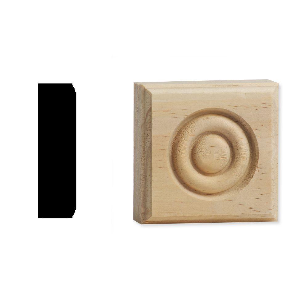 DecraMold DM R2751 7/8 in. x 2-3/4 in. x 2-3/4 in. Solid Pine Button Style Rosette Corner Block
