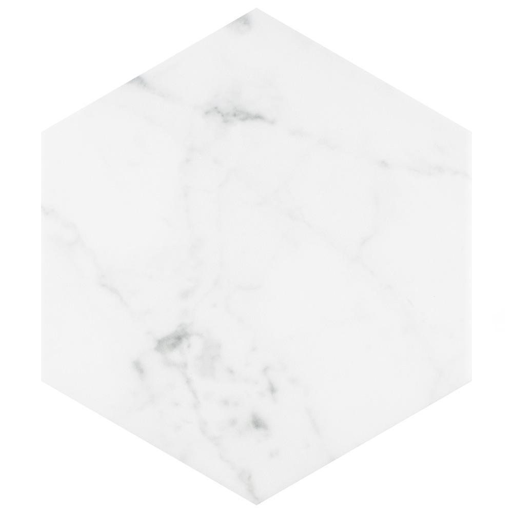Merola Tile Classico Carrara Hexagon 7 in. x 8 in. Porcelain Floor and Wall Tile (7.67 sq. ft. / case)