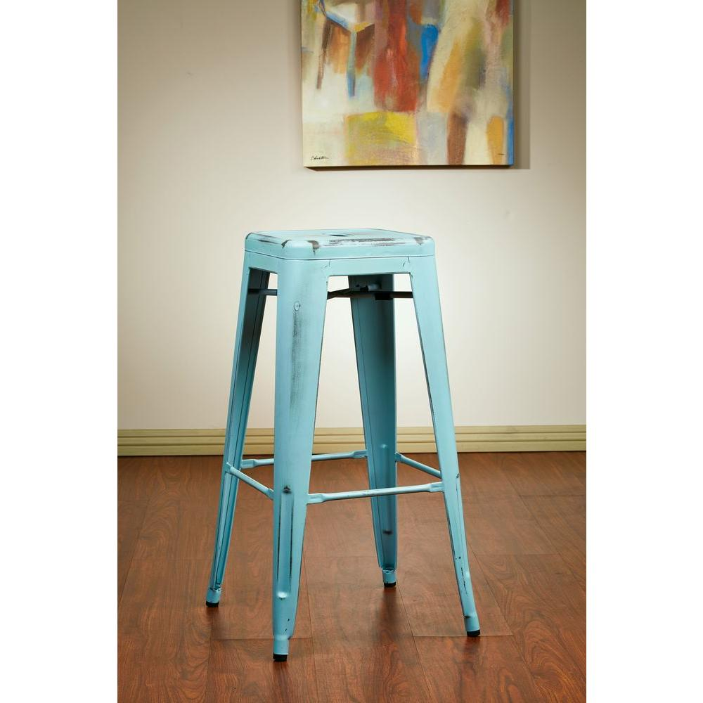 Superb Antique Sky Blue Bar Stool (Set Of 2)
