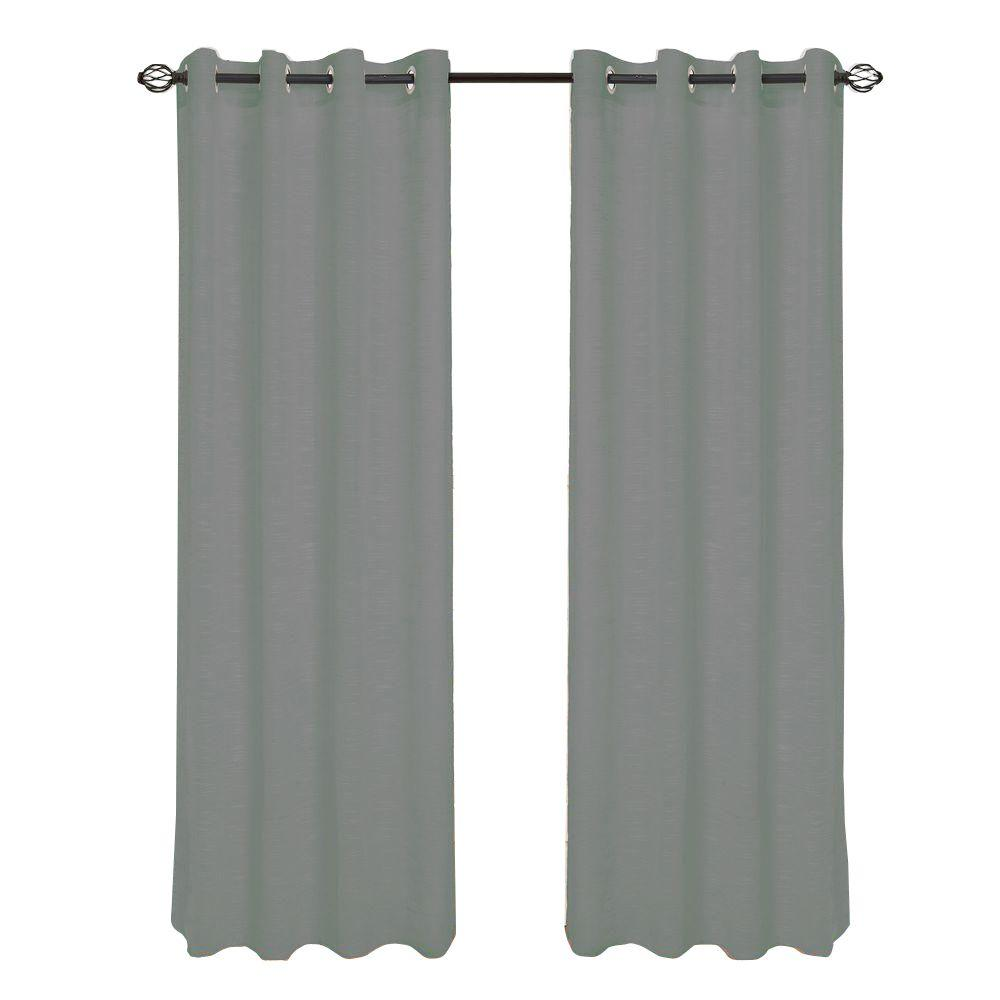 Lavish Home Dark Grey Mia Jacquard Grommet Curtain Panel, 84 in. Length