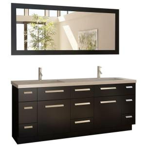 Click here to buy Design Element Moscony 72 inch W x 22 inch D Double Vanity in Espresso with Quartz Vanity Top in White Quartz and Mirror by Design Element.