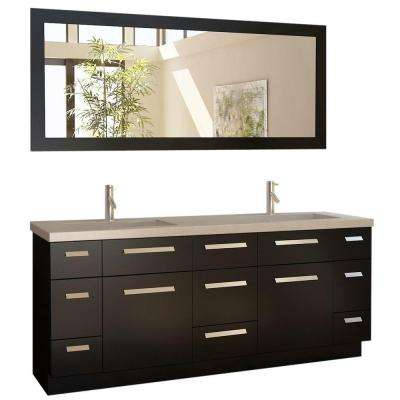 Moscony 72 in. W x 22 in. D Double Vanity in Espresso with Quartz Vanity Top in White Quartz and Mirror