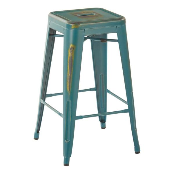 Bristow 26 in. Blue Metal Bar Stool (Set of 4)