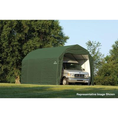 12 ft. W x 24 ft. D x 11 ft. H Steel and Polyethylene Garage without Floor in Green with Corrosion-Resistant Frame