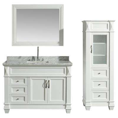 48 in. W x 22 in. D Bath Vanity in White with Marble Vanity Top in White with White Basin, Mirror and Linen Cabinet