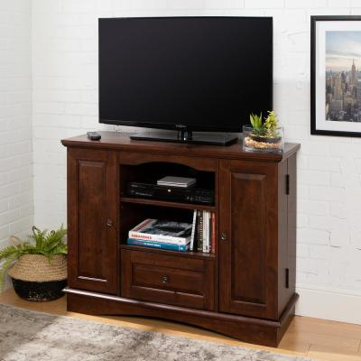 Laguna 42 in. Traditional Brown Composite TV Stand with 1 Drawer Fits TVs Up to 48 in. with Adjustable Shelves