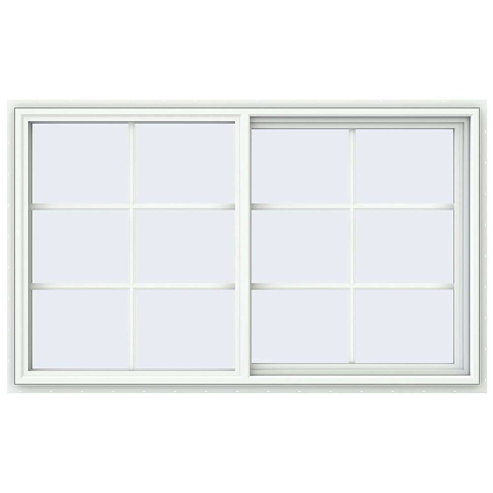 JELD-WEN 59.5 in. x 35.5 in. V-4500 Series Right-Hand Sliding Vinyl Window with Grids - White