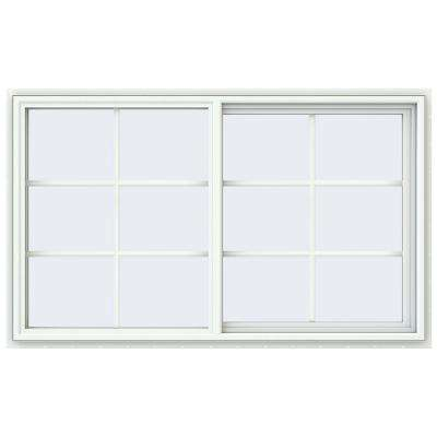 59.5 in. x 35.5 in. V-4500 Series White Vinyl Right-Handed Sliding Window with Colonial Grids/Grilles