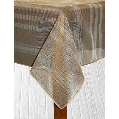 Bistro Stripe 70 in. Round Sand Vinyl and Poly Tablecloth