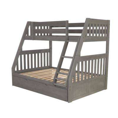 Twin over Full Solid Wood Bunk bed in Charcoal with Twin Pull Out Trundle