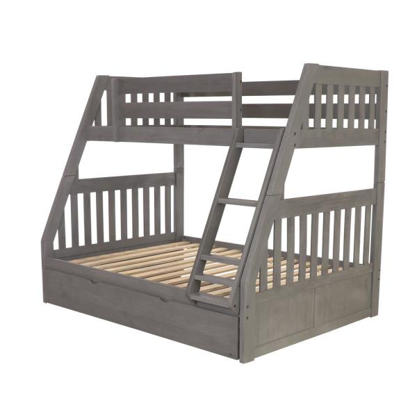 American Furniture Classics Charcoal Twin Over Full Solid Wood Bunk Bed With Twin Pull Out Trundle 3218 Trun The Home Depot