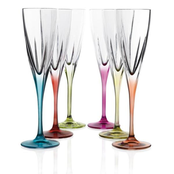 Lorren Home Trends Fusion Crystal Multicolor Champagne Set 260170