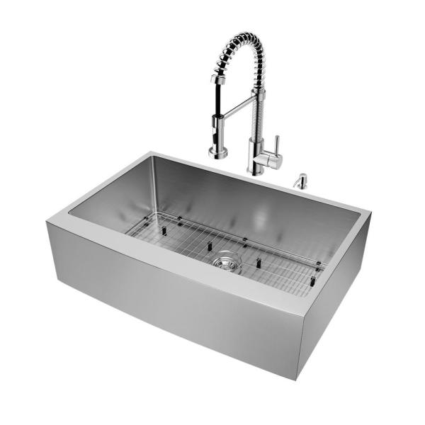All-in-One Stainless Steel 33 in. Single Bowl Farmhouse Apron Front Kitchen Sink with Pull Down Faucet in Chrome