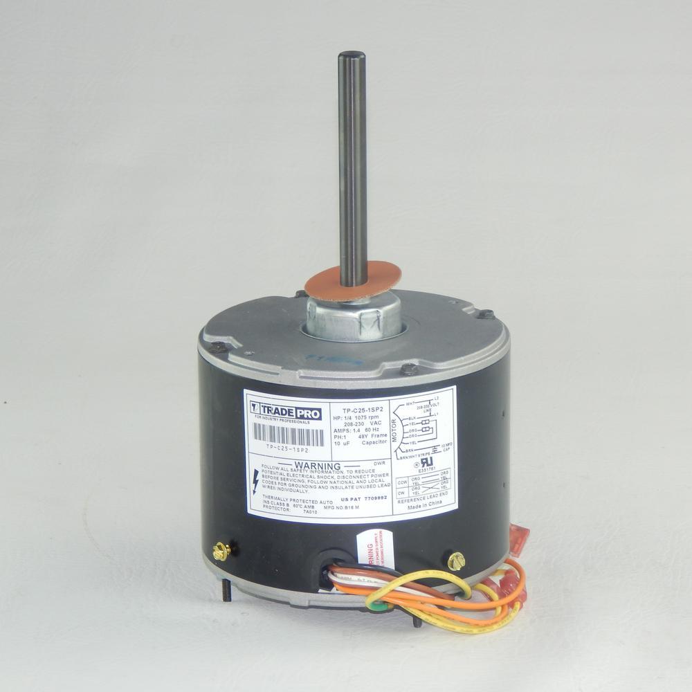 Replacement Condenser Fan Motor 1/4 HP Single Speed 1075 RPM 230-Volt