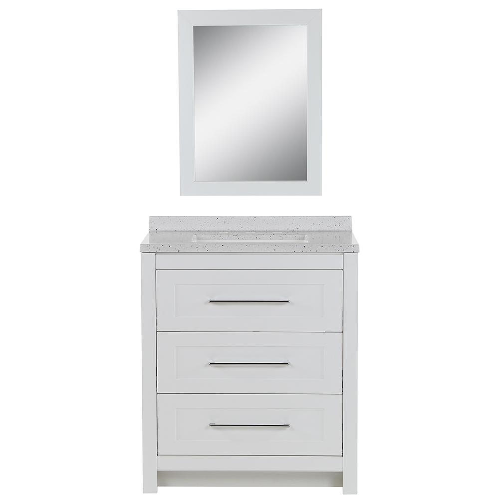 Glacier Bay Sandhill 30.5 in. W Bath Vanity in White with Solid Surface Vanity Top in Frost with White Basin and Mirror