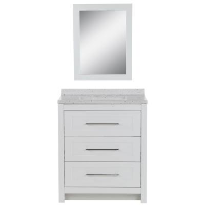 Sandhill 30 in. W Bath Vanity in White with Solid Surface Vanity Top in Silver Ash with White Sink and Mirror