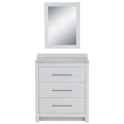 Sandhill 30.5 in. W Bath Vanity in White with Solid Surface Vanity Top in Frost with White Basin and Mirror